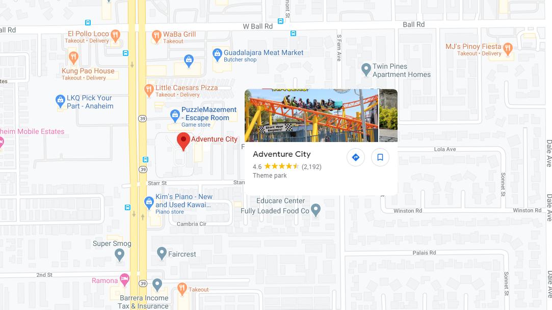 Adventure City Google Map