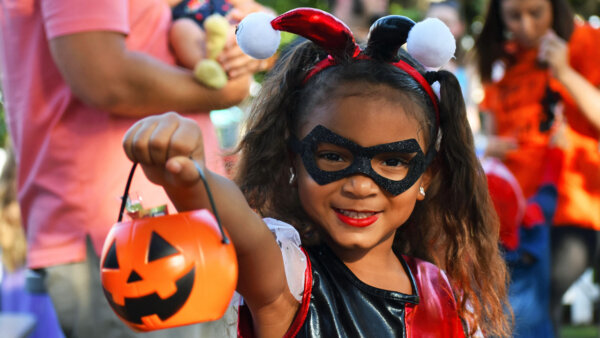 Halloween girl with candy